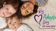 Three children with Big Adoption Day logo 2019